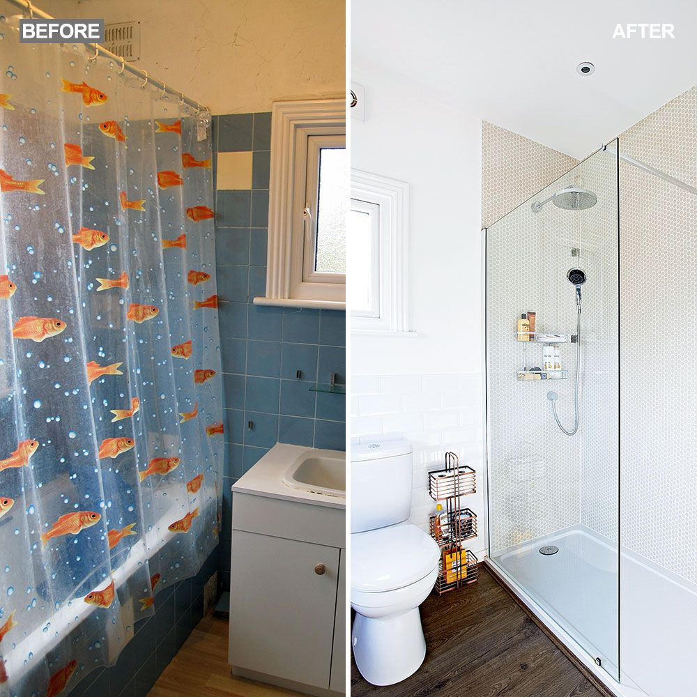 Before And After A Family Bathroom Is Transformed With A Stylish Honeycomb Motif Ideal Home Family Bathroom Honeycomb Tile Bathroom Makeover