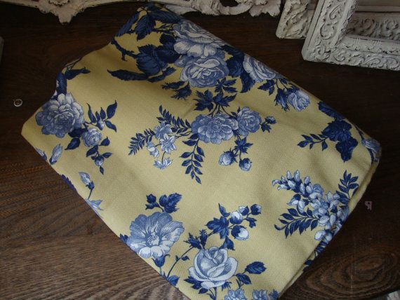 Yellow And Blue Floral Fabric Country Floral Fabric 1 Yard