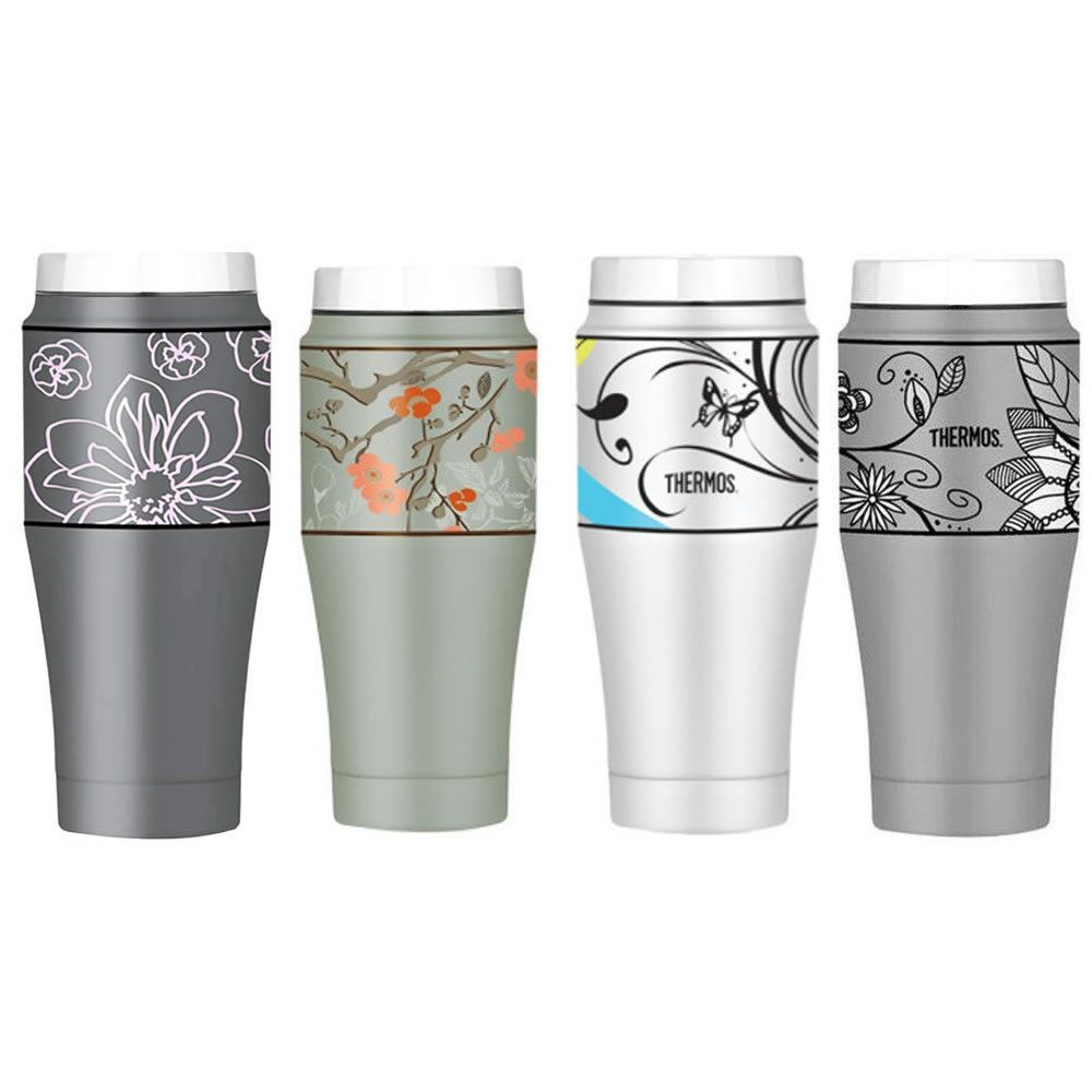 Thermos Vacuum Insulated Stainless Steel Double Wall Travel Tumbler 16 oz, Amethyst/Cherry Blossom/Butterfly/Flower