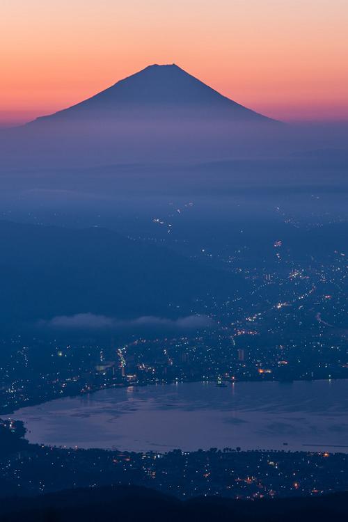 Dawn of Lake Suwa and Mount Fuji, Nagano, Japan