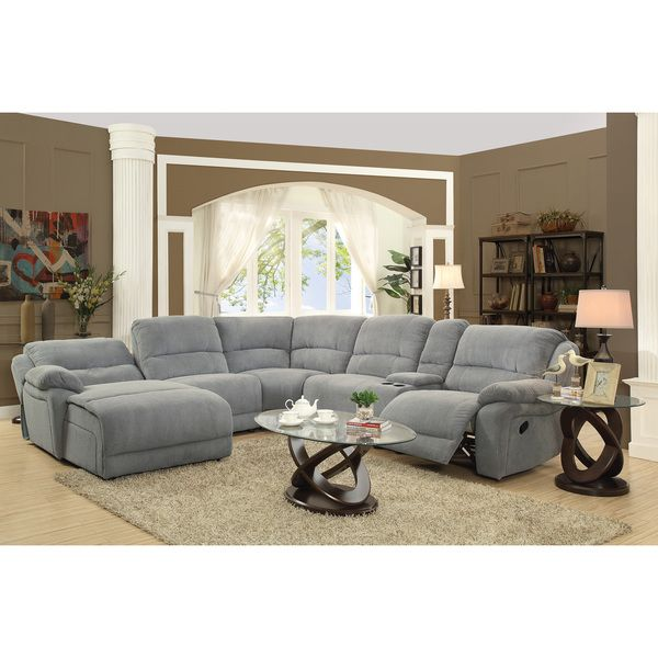 $2279. Grey Microfiber Reclining Sectional with Storage … in ...