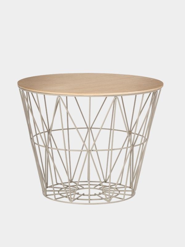 Wire basket table large wire center wire basket top oiled oak large wire basket and tables rh pinterest co uk wire basket cart wire basket display on table greentooth Images