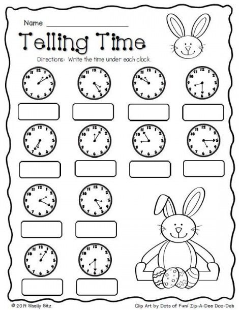 Telling Time Worksheets For 2nd Grade Math Freebie 2nd Grade Math Worksheets Easter Math Time worksheets grade 2