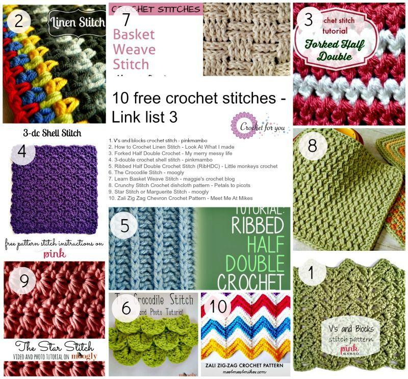 Link list 3 - 10 free crochet stitches   puntadas   Pinterest ...