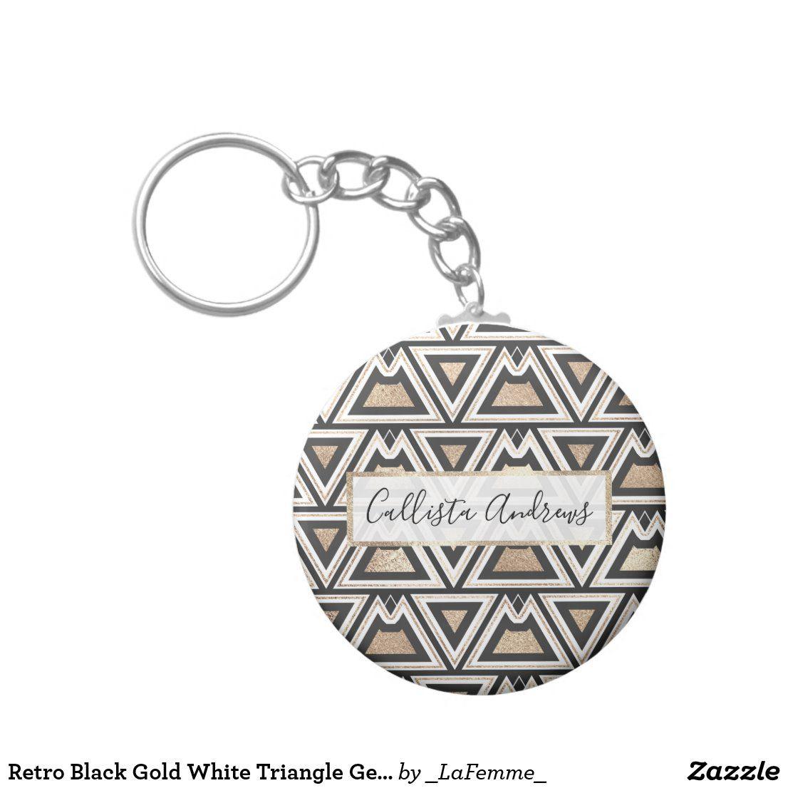 geometric black and gold keychain