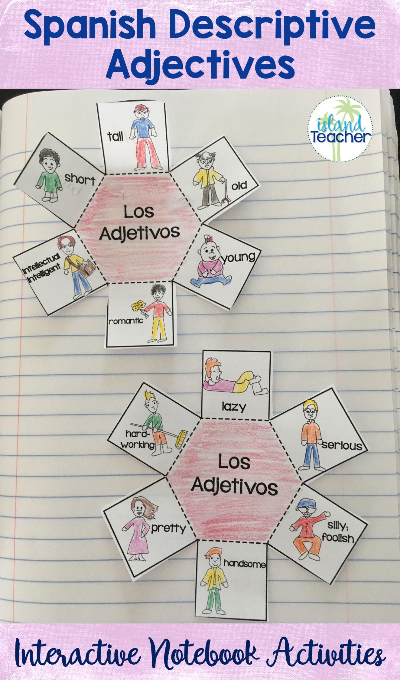 Spanish Descriptive Adjectives Interactive Notebook