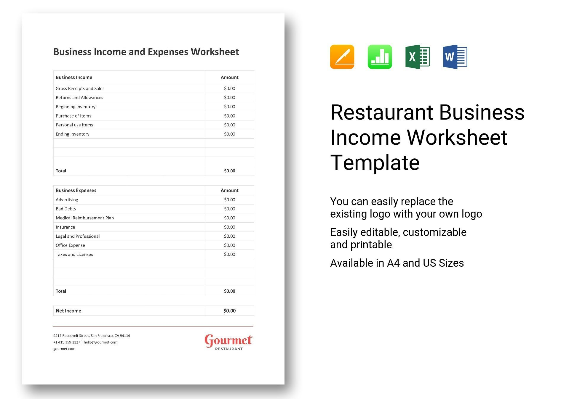 Restaurant Business Income Worksheet Template Worksheet Template