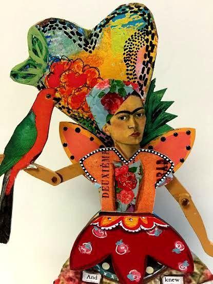 Mixed Media Art Assemblage Doll FRIDA KAHLO Garden Angel by IMGirl