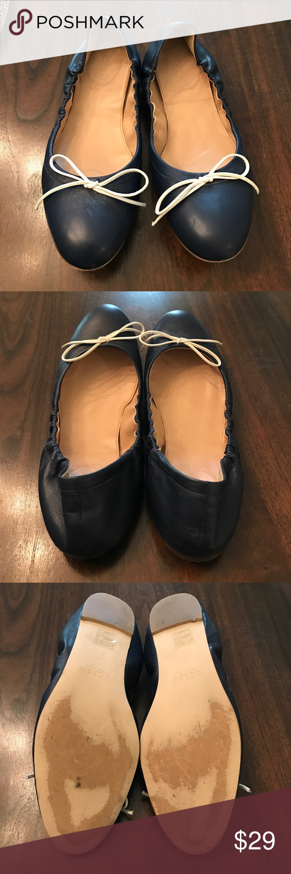 J.Crew Emma Bow Ballet Flats In good condition, no major flaws. Made in Italy. Leather upper and lining. Elastic ruching at the sides.  They run a little small.  Color: Navy. J. Crew Shoes Flats & Loafers