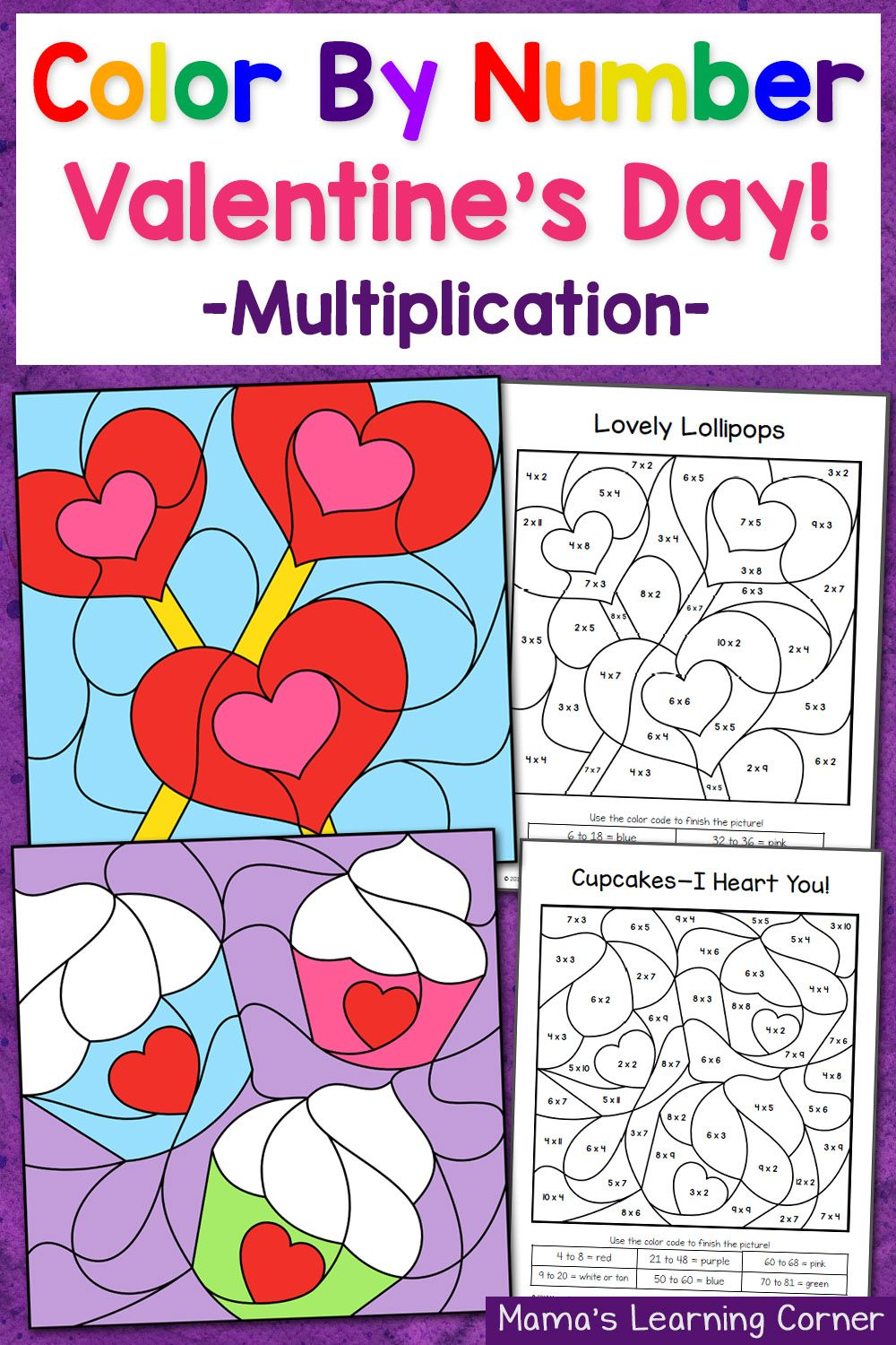 Multiplication Worksheets multiplication worksheets color by number : Valentine's Day Color By Number Multiplication Worksheets ...