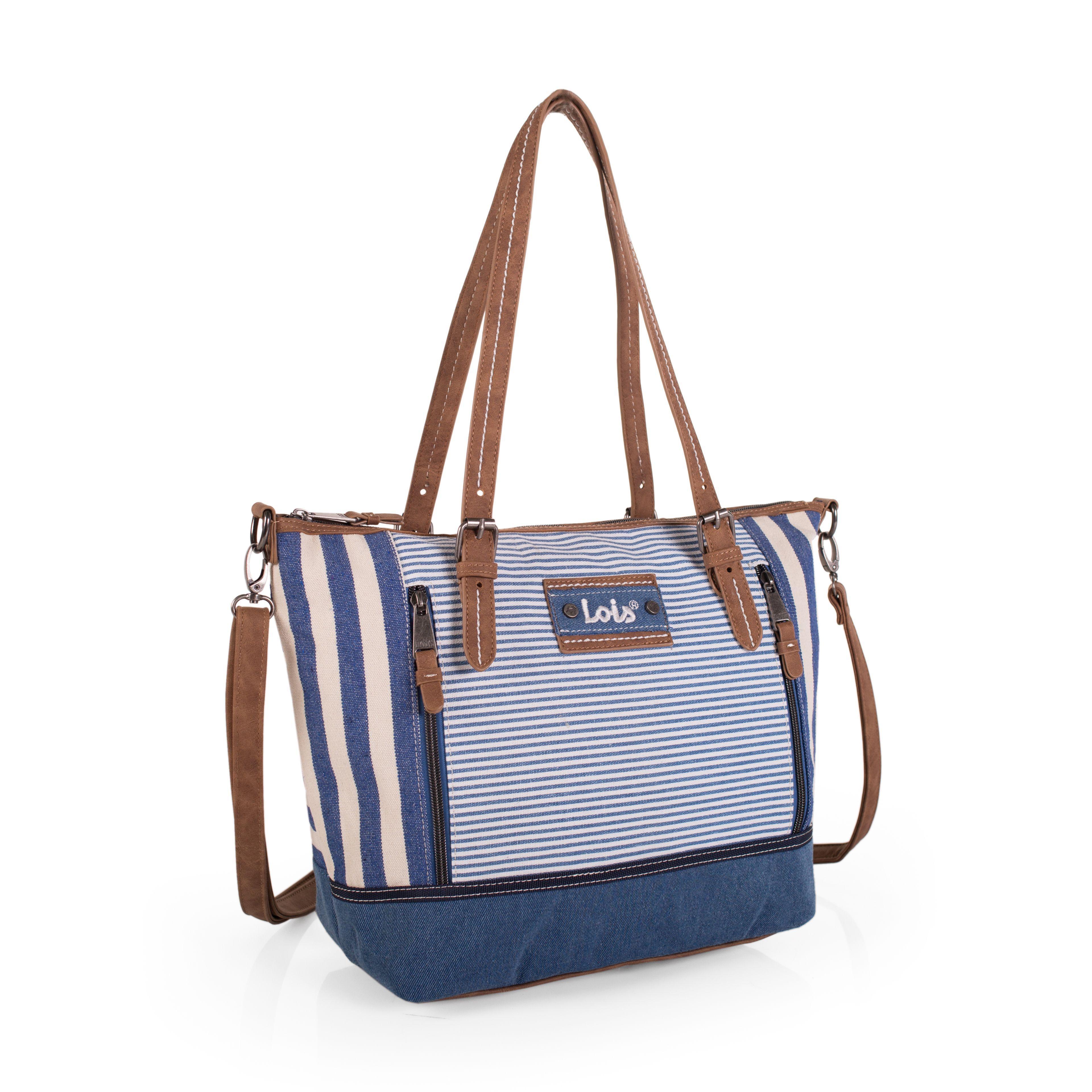 Bolso Lois colección primavera en rayas azulblanco, con