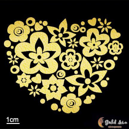 This heart shaped floral 24k tattoo would be perfect on the back of your shoulder. It will last for 3 to 7 days. GoldTattoosUS.com