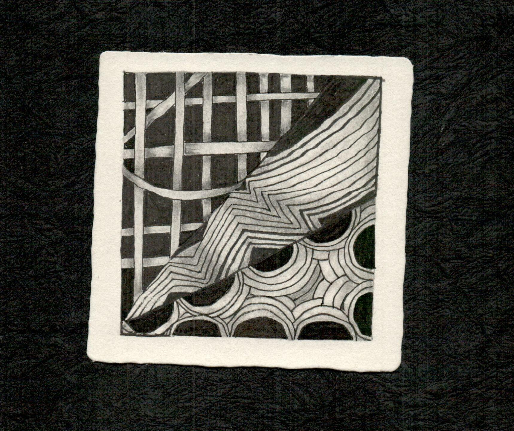 My First Zentangle on an official zentangle art card by Tina Grace