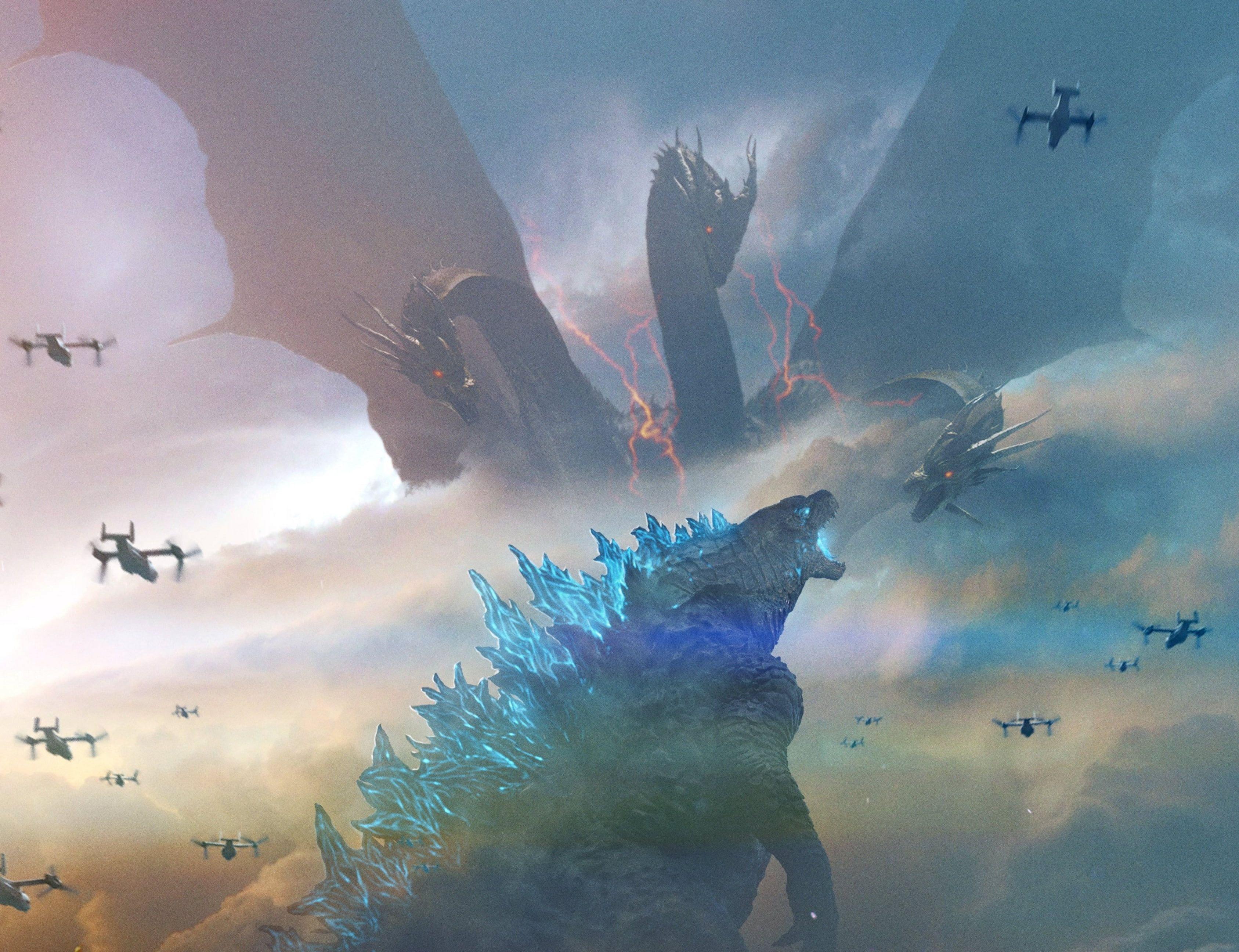 Movie Godzilla King Of The Monsters Godzilla King Ghidorah 2k Wallpaper Hdwallpaper Desktop In 2020 Godzilla Monster Movie Monsters