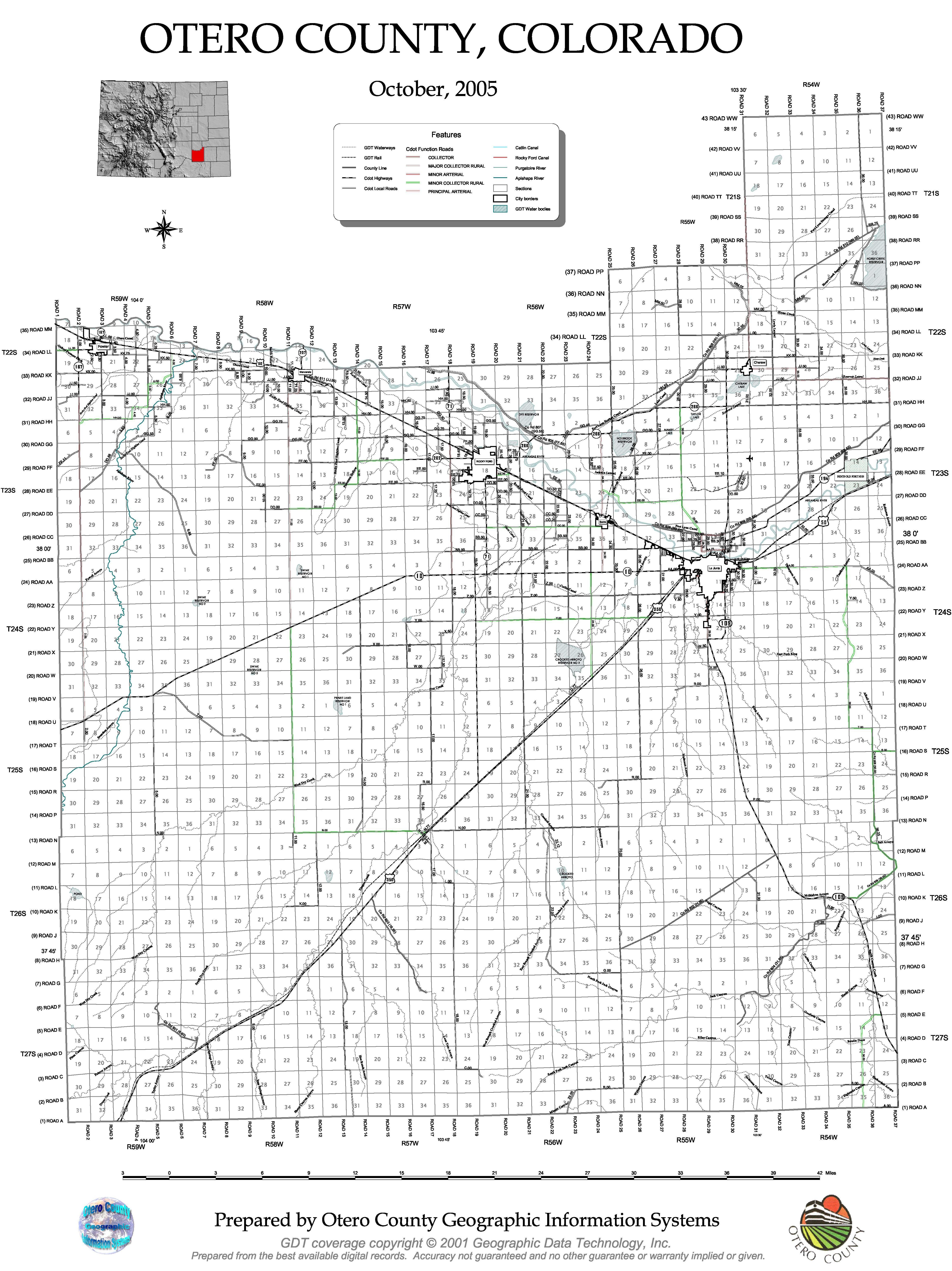 Otero County Map Colorado Counties Pinterest - Colorado counties map