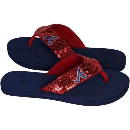 6fcdca7c97655 Atlanta Braves Ladies Team Color Sequin Flip Flops - Navy Blue Red ...