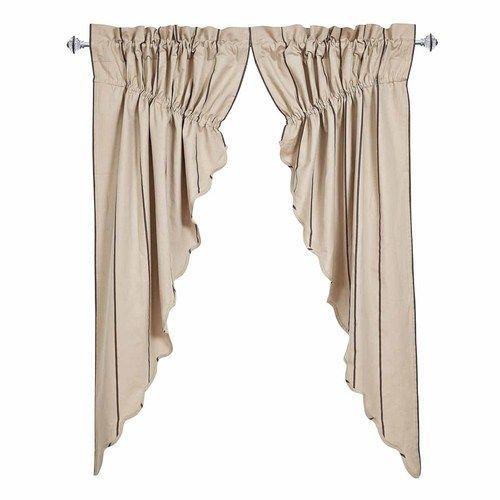 Charlotte Slate Scalloped Prairie Curtain Set of 2 63x36x18