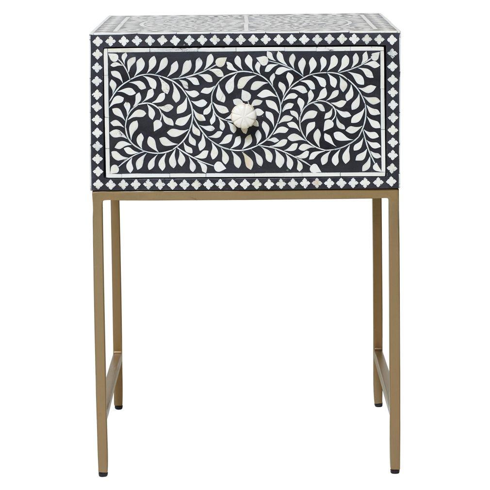 Pia Bone Inlay Bedside Table Grey Matt Blatt Table Furniture