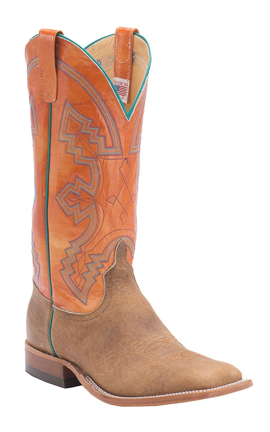 71617324f8f Anderson Bean® Men's Distressed American Tan Bison with Tangerine ...