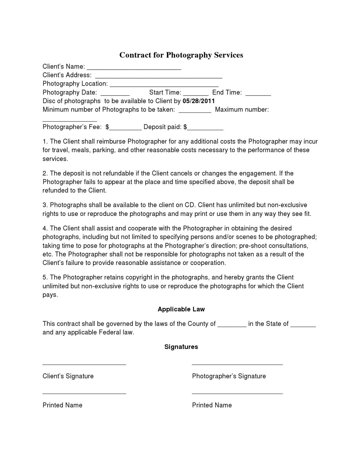 Photography Contract Template For Wedding Portrait Event With