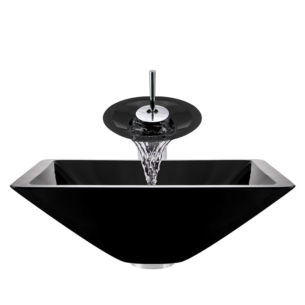 Polaris Sinks Chrome Black Square Vessel Sink and Waterfall Faucet ...