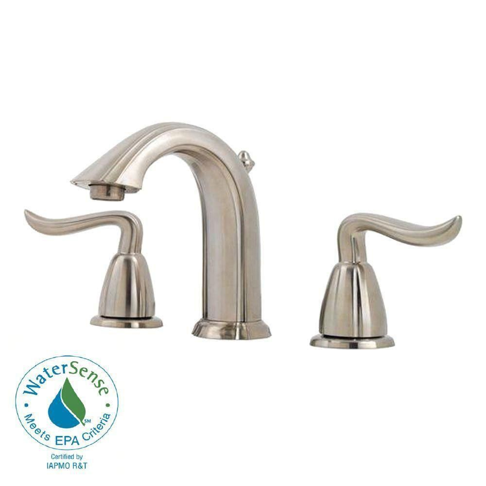 Price Pfister Santiago 8 Inch Widespread 2 Handle Bathroom Faucet In Brushed Nickel 475818 Bathroom Faucets Faucet Pfister