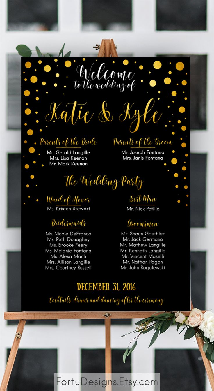 navy and gold wedding program printable wedding party sign wedding