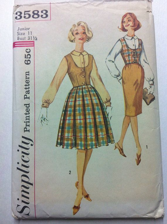 Vintage Simplicity 3583 Sewing Pattern circa 1960s - juniors Blouse, Vest and Skirt