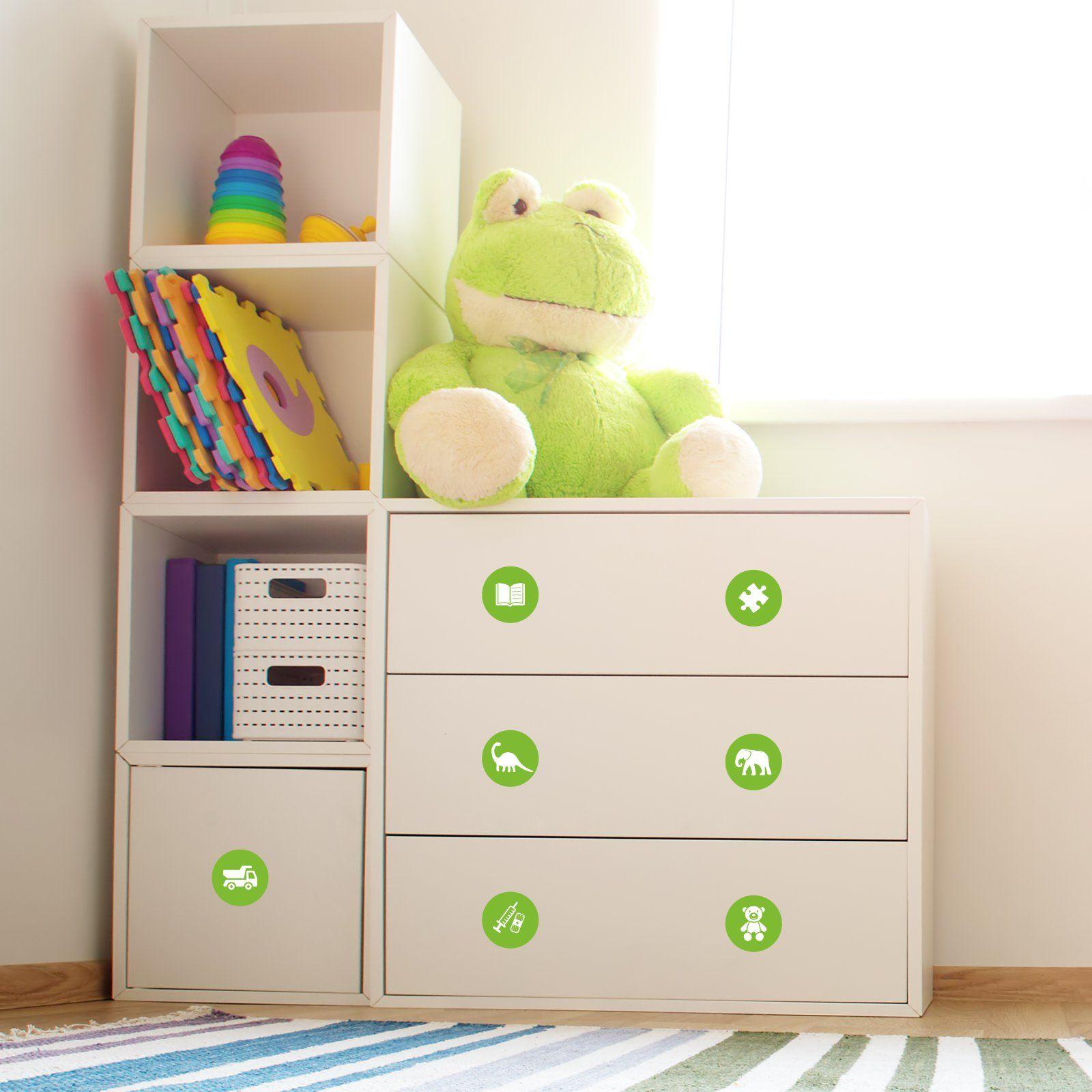 Mobelaufkleber Ordnungssticker Fur Spielzeug Weiss Grun Spielzeug Kinder Zimmer Aufkleber
