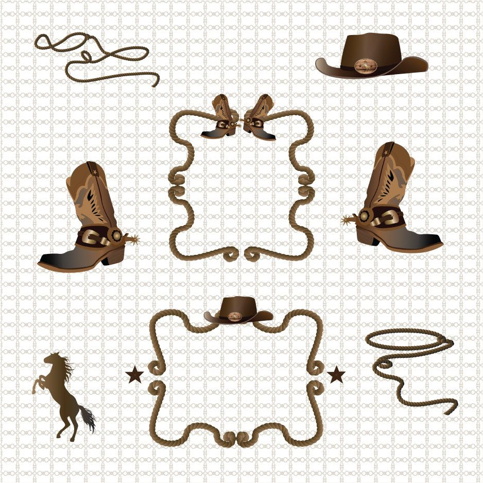 Western Cowboy Border Clipart Graphics High Resolution Graphic Etsy In 2020 Clip Art Borders Digital Clip Art Western Clip Art