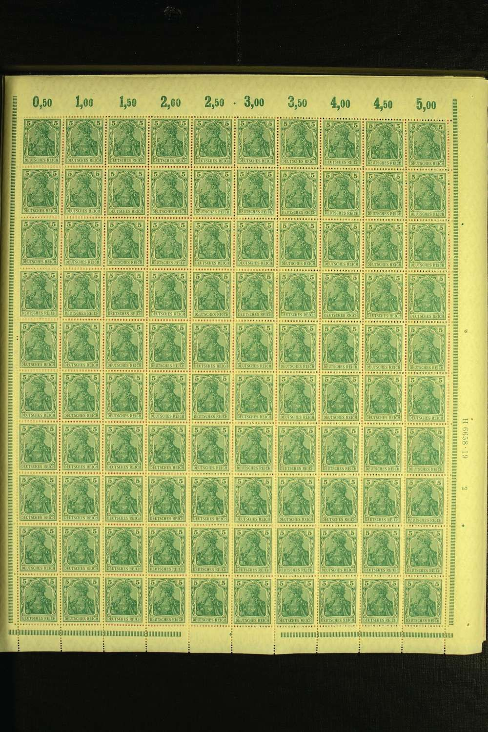 Philasearch.com - German Empire. ENGROS and sheets: 1915 / 19, Germania war issue Michel-no. 85.87-90 and 92-93 always in mint n.h. Sheets (HAN and so on. Not calculated 2. 490,-)  Lot condition **   Dealer Heinrich Köhler Auctions  Auction Starting Price: 800.00 EUR