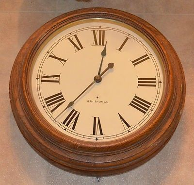 Old Antique Electric Seth Thomas School Wall Clock With