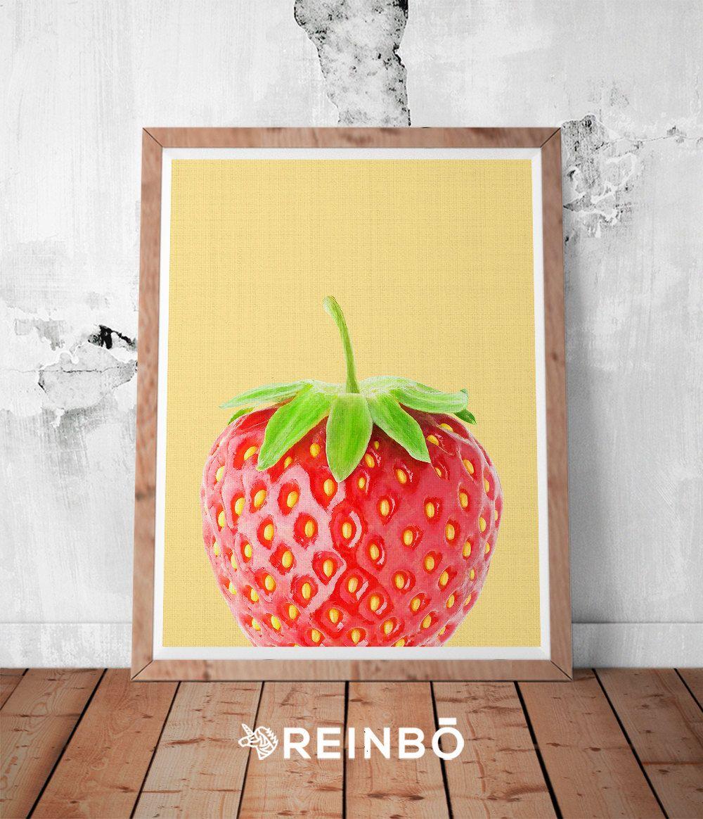 Strawberry Wall Art Print, Strawberry Photography, Fruit Print ...