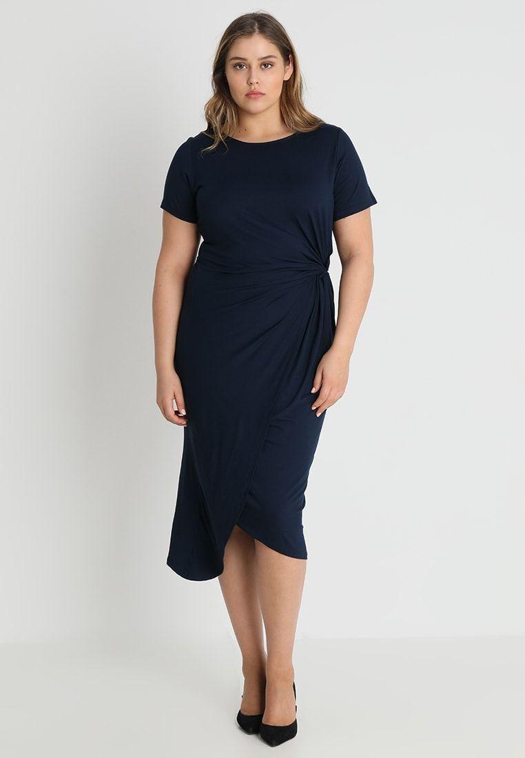 4fe57ce4 Dorothy Perkins Curve MANIPULATED BODYCON DRESS - Žerzejové šaty - navy -  Zalando.cz