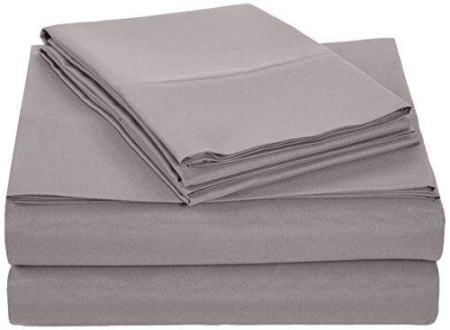 AmazonBasics - Juego de sábana de microfibra, Queen, gris... https ...