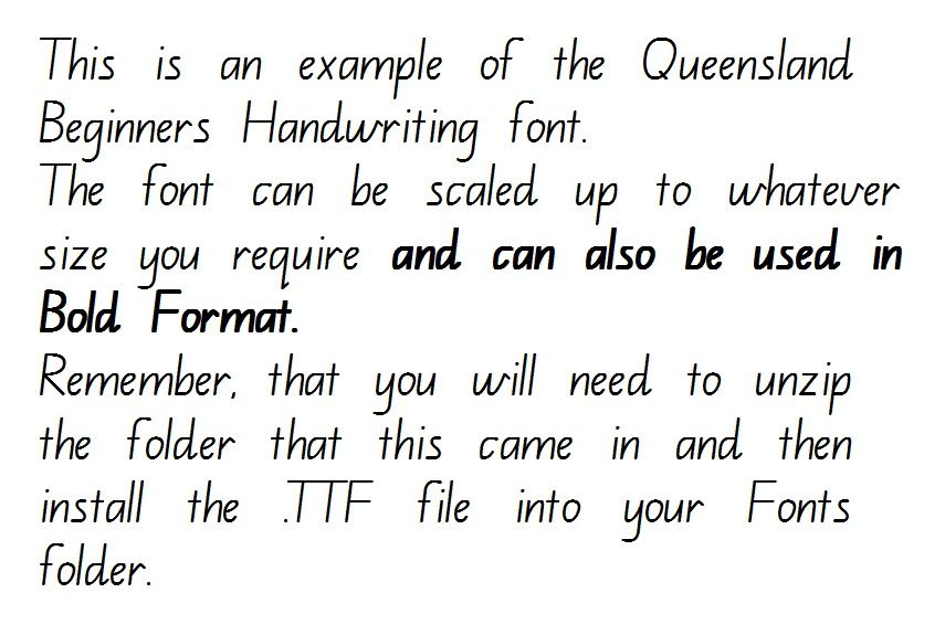 queensland beginners handwriting font ready to download and install immediately kabir. Black Bedroom Furniture Sets. Home Design Ideas