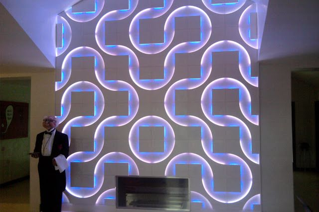 interior wall paneling ideas - 3D wall art panels with LED lights ...