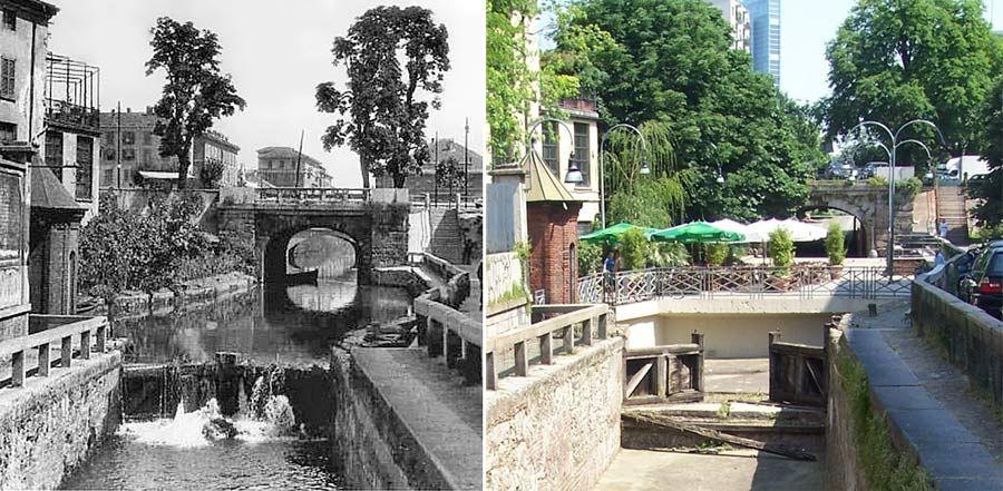 Milano:Il Ponte della Incoronata nel 1920 e la relativa chiusa (realizzata su disegno di Leonardo)