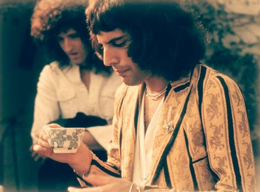 Freddie Mercury. Brian May.  Queen. 1970s.