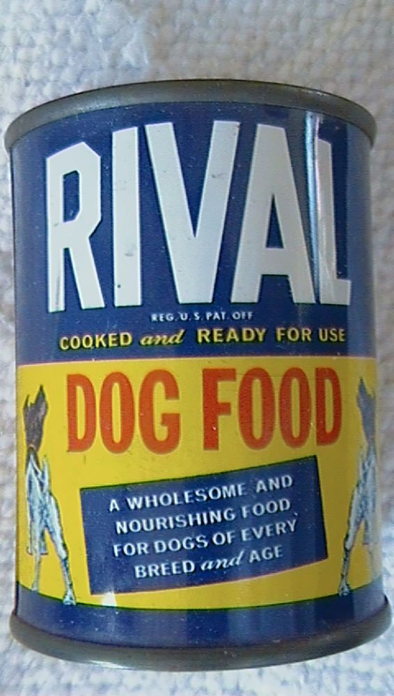VINTAGE TIN Still Bank RIVAL DOG FOOD 1950's advertising promotional item OLD #RIVALDOGFOOD