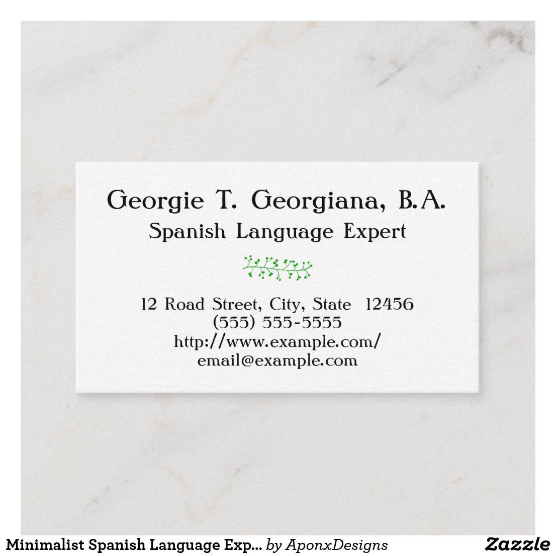 Minimalist Spanish Language Expert Business Card Zazzle Com