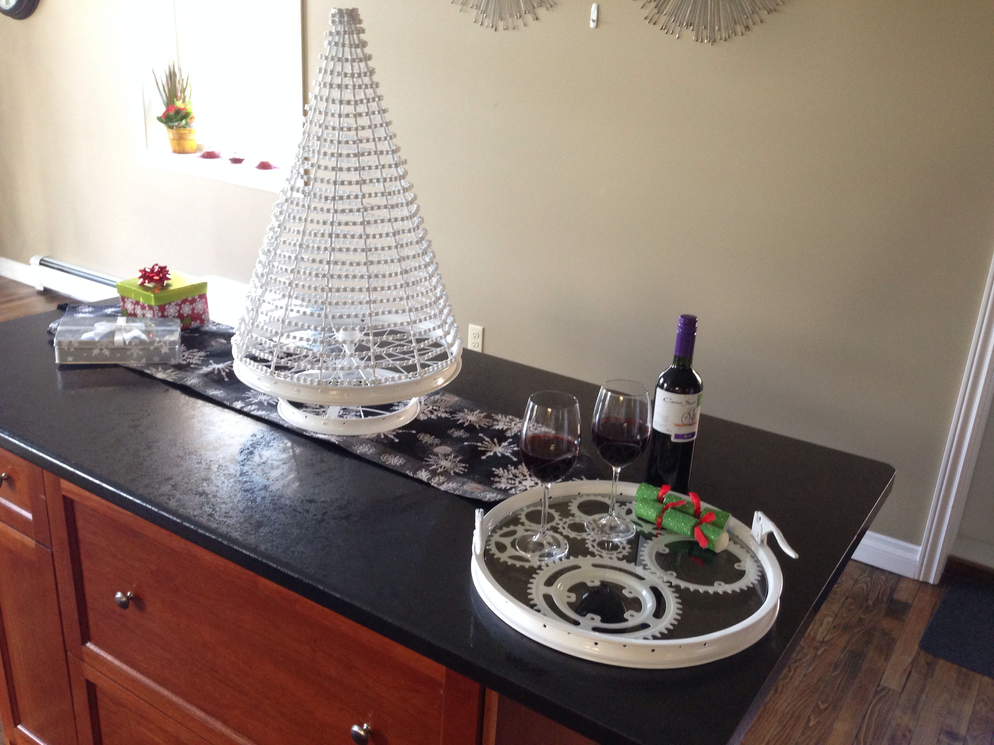 Christmas Tree And Tray Made From Recycled Bicycle Parts Bike Art