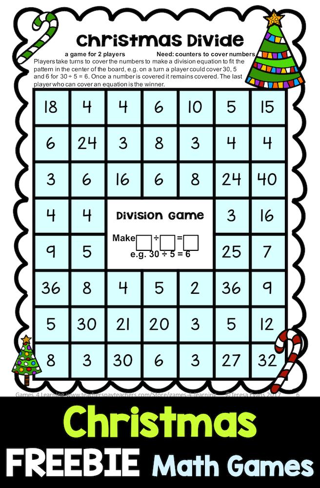FREE Christmas Math Games - 4 Printable games for addition ...