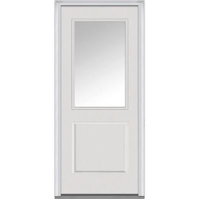Mmi Door 32 In X 80 In Clear Right Hand 1 2 Lite 1 Panel Classic Primed Fiberglass Smooth Prehung Front Door Z000340r The Home Depot Glass Front Door Prehung Doors Front Door