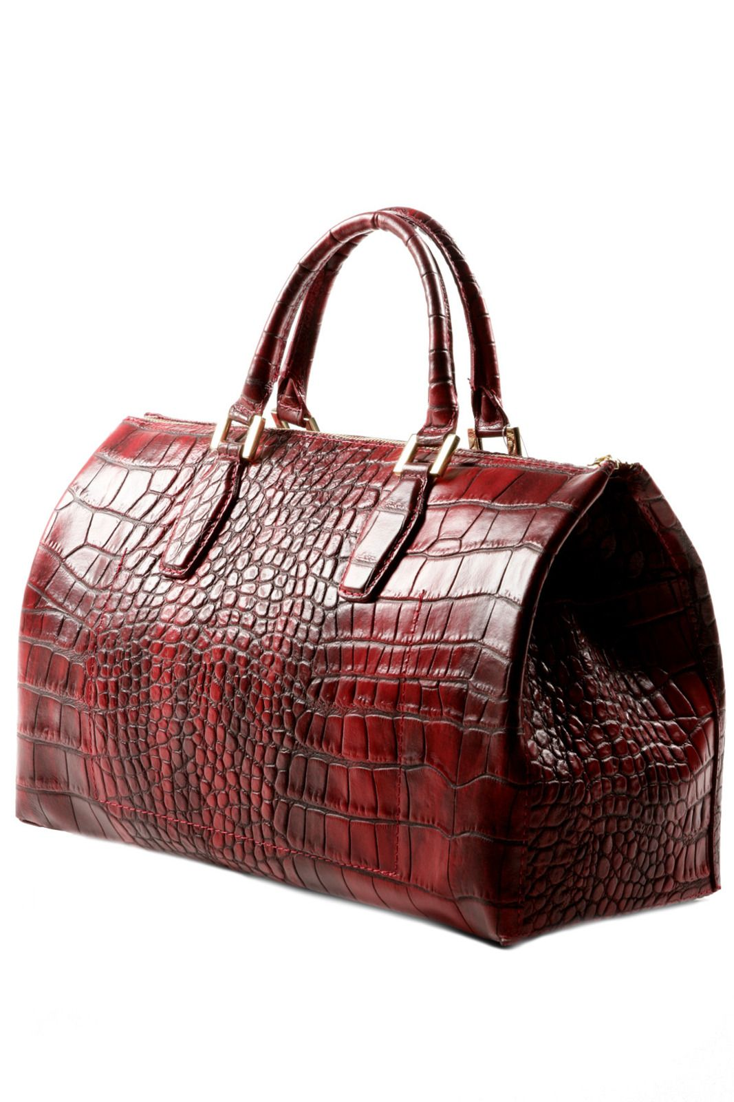 Gabrielle S Amazing Fantasy Closet Vintage Dark Ombre Red Crocodile Leather Bag