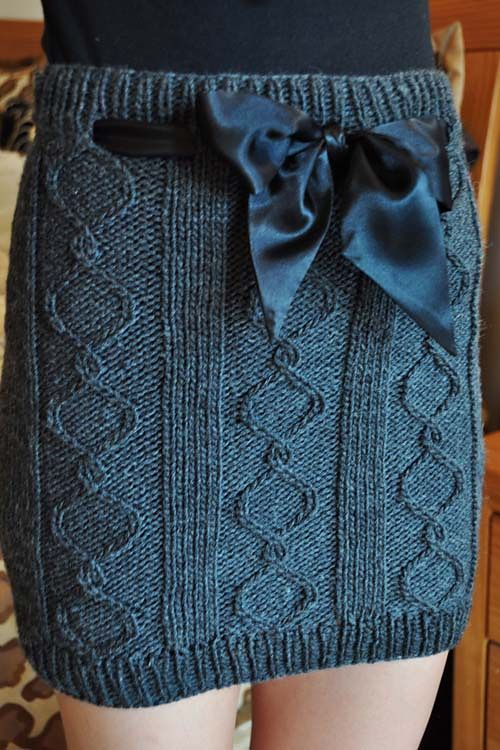 Cables and Curves Cable Knit Skirt pattern by Lauren Riker | Knit ...
