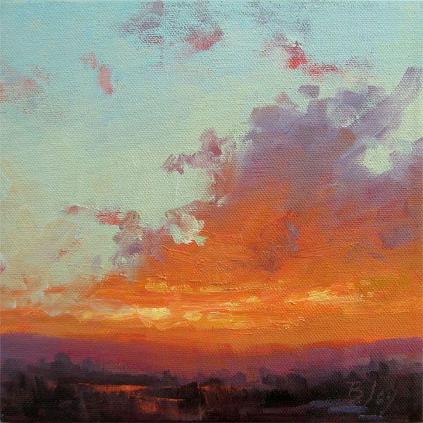Becky Joy Sunset Color Notes Landscape Painting Sold Art Art Painting Cloud Art