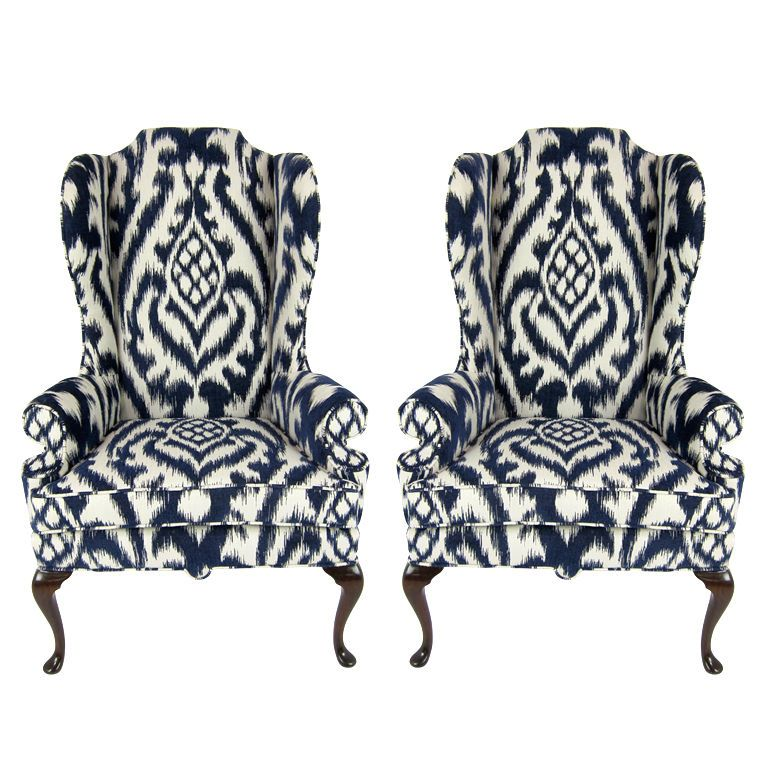 Pair of High Back Wing Chairs upholstered in Woven Ikat Love love