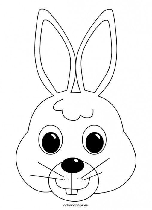 Easter bunny face coloring page | Kaninfødselsdagsfest | Pinterest ...