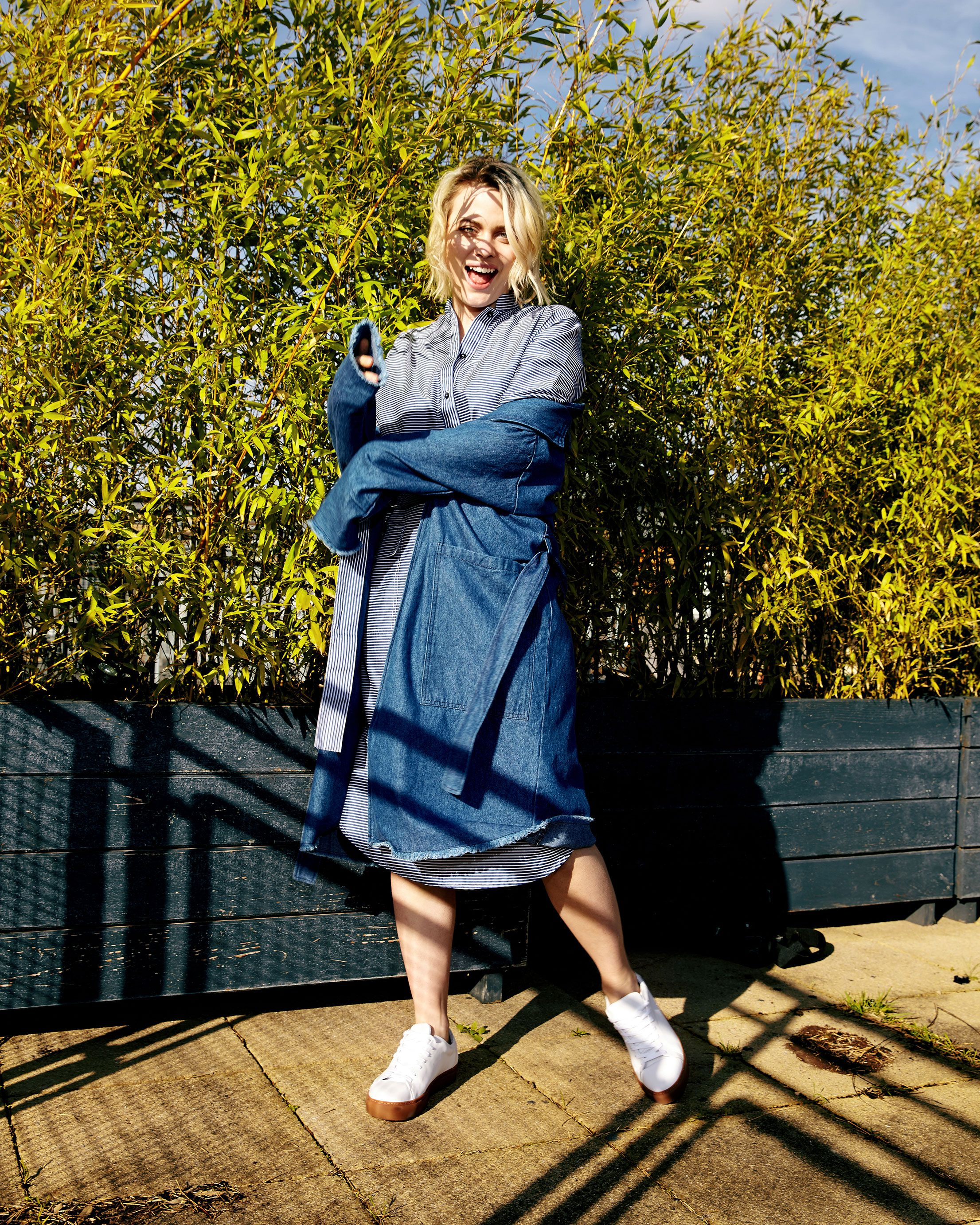 f47984654eb AIDA Shoreditch SS17 photoshoot featuring Mads Norgaard striped shirt dress  and Minimum DK denim coat on model Wilma.